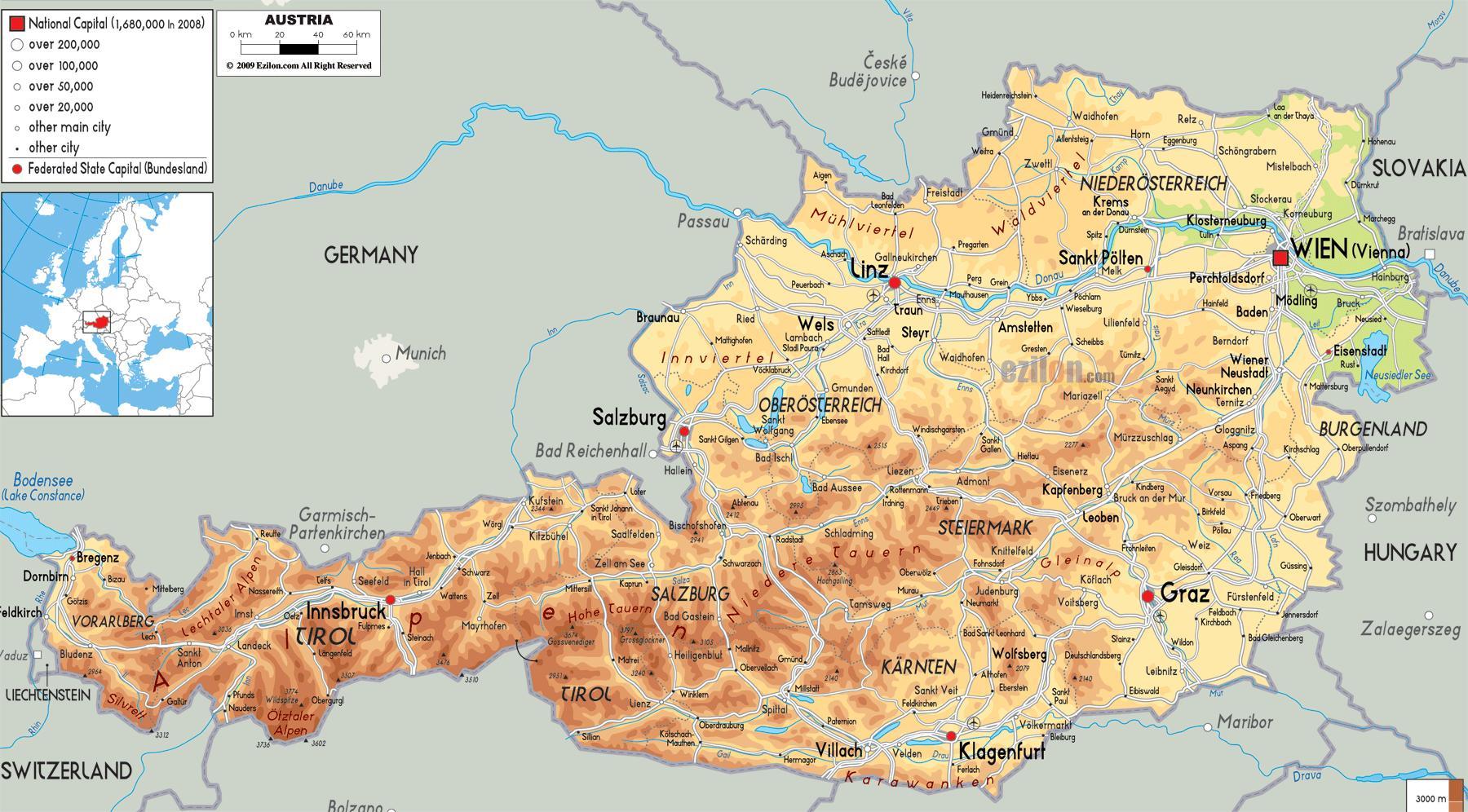 Fysisk Kort Over Ostrig Kort Af Fysisk Kort Over Ostrig Western