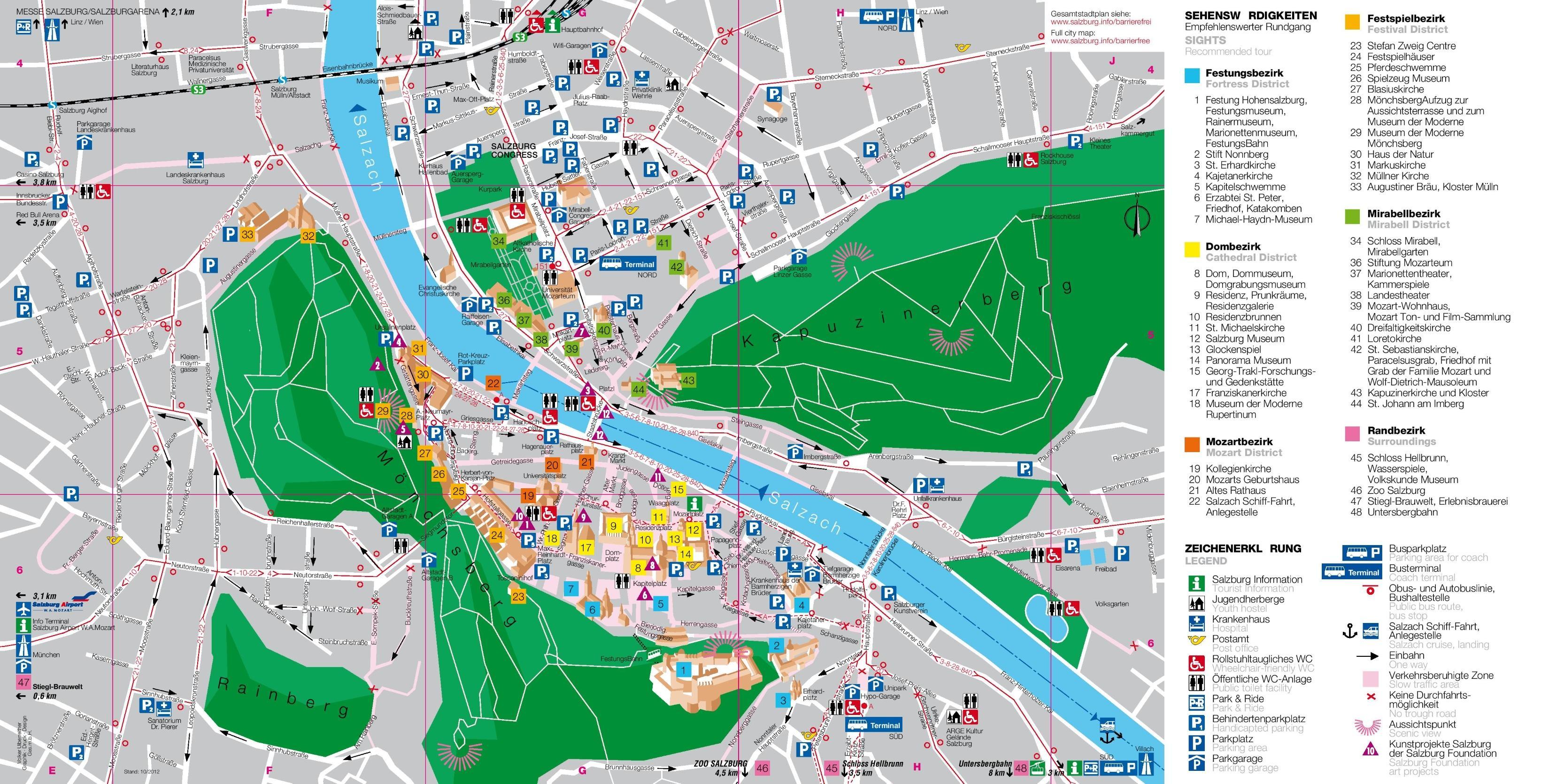 Turist Kort Over Salzburg Ostrig Kort Af Turist Kort Salzburg