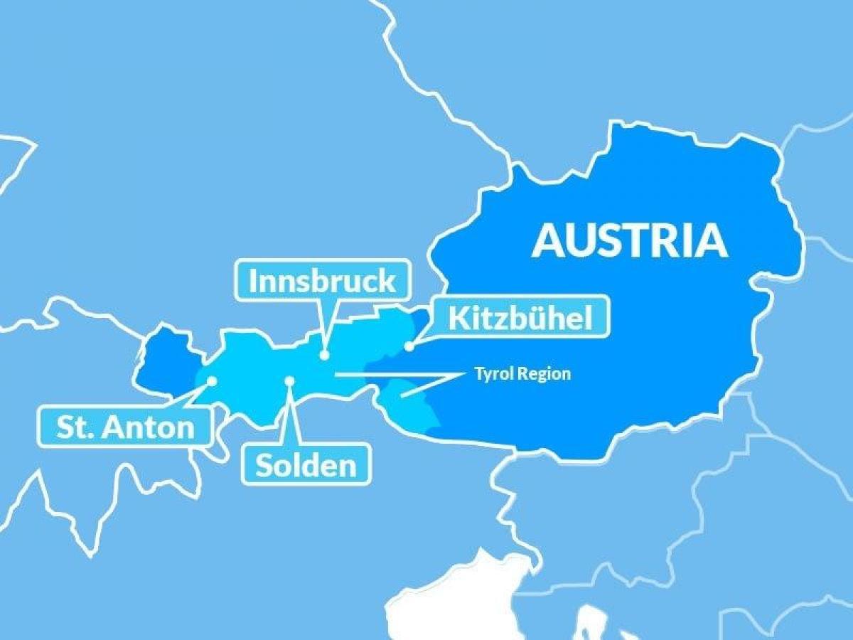 Kort Over Tyrol Ostrig Kort Af Kort Af Tyrol I Ostrig Det